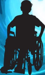 an illustration of a person using a wheelchair